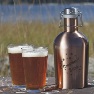 Personalized Beer Growler with glasses