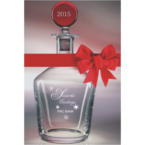 Engraved Crystal Decanter with Red Top