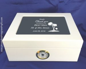 Engraved White Humidor