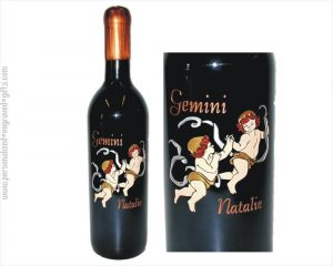 Engraved Wine Bottle with Gemini Symbol